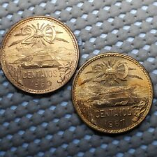 1963 & 1967 Mexico 20 Centavos BU UNC Red Bronze Coins