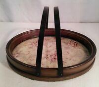 Vtg Ceramic Art Handled Oval Tray Vanity Make up Serving Glass Frame Pink Roses
