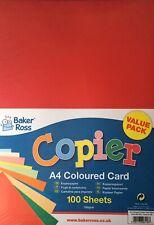 Baker Ross A4 Copier Coloured Card 100 Sheets 160gsm Red Orange Blue Green