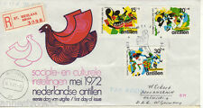 NETHERLANDS ANTILLES REG AIRMAIL FDC 1972 CULTURAL & SOCIAL RELIEF FUND