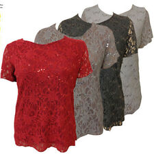 NEW LADIES PLUS SIZE DESIGNER INSPIRED LACE OVER SEQUINS LINED TUNIC TOPS 16-26