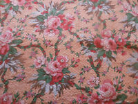 Antique French Roses Cotton Fabric~ pink lavender on salmon ~ lighter weight