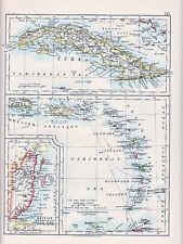 1912 MAP ~ ISLANDS CUBA GREATER ANTILLES LEEWARD ISLANDS BRITISH HONDURAS
