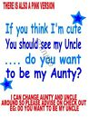 IRON ON TRANSFER IF YOU THINK CUTE BABY MATERNITY PREGNANT AUNTY UNCLE BLUE