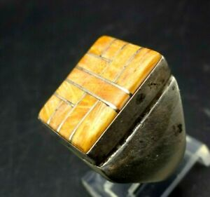 Vintage NAVAJO Sterling 925 ORANGE SPINY OYSTER SHELL Channel Inlay RING size 9