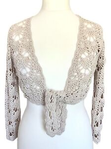 Fat Face Natural Crochet Shrug Tie Front Size 12