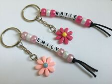 Handmade Personalised Name Resin Pink Daisy Keyring School Bag Tag Charm