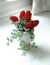 Vintage French Glass Seed Bead Red and White Flowers Floral Bouquet Pot Urn Vase