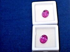 Pink Sapphires Lab Grown set of 2 Oval  cut loose gems 10 m x 8 mm 10 carats
