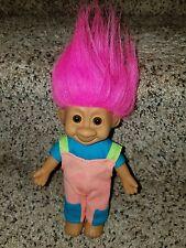 """Russ Tracey Travis Troll Peach Hair 7"""" Doll Blue Shirt Overalls vhtf"""