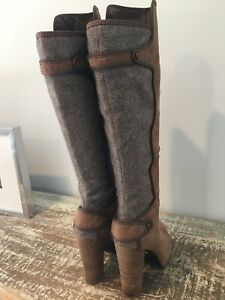 Rachel Roy Taupe leather and Fabric Tall Boots 8.5