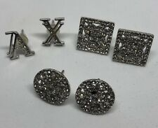 SET of 3 genuine ARMANI EXCHANGE silver-tone and crystal stud EARRINGS, EUC