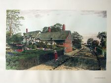"""""""Ann Hathaway's Home"""" Replica of antique engraving HAND COLORED Old World Prints"""