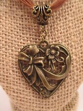 necklace heart floral ribbon cord brown antiqued gold color charm/pendant