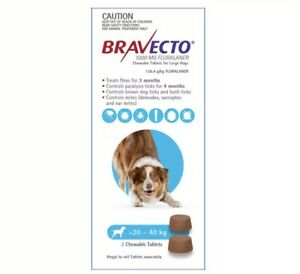 Bravecto For Large Dogs 20-40kg 2 Chews