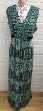 M&S Per Una Size 16L Maxi Dress Green Jersey Stretchy Grecian Holiday Festival