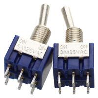 2 Pcs Blue Mini DPDT ON/ON Toggle Switchs w 6 Terminals E5E3