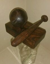BASEBALL BAT Ironwood Carved desk paperweight wood ball World Series Soft father