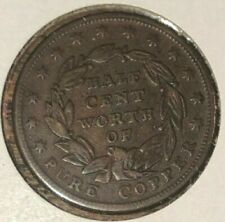 1837 Low-49 HT-73 Half Cent Worth of Copper Token 1/2c, XF condition