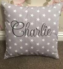 PERSONALISED Boys Embroidered Cushion Cover Rose & Hubble Grey & White Star
