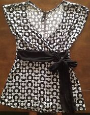 ING Black And Gray Faux Wrap Blouse Size Small EUC