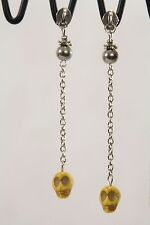 Zipper Pull Cable Chain Skull Post Dangle Earrings Silver Yellow Day Dead 3.5""