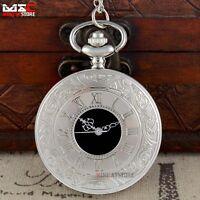 Antique Silver Roman Hollow Vintage Pocket Watch Necklace Quartz Chain Pendant