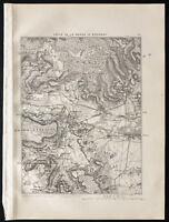 1880 - Landkarte Antik der Umzug der Marne bis Epernay