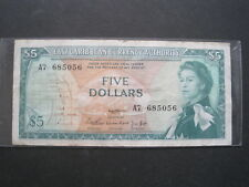 EAST CARIBBEAN $5 1965 P14a SCARCE SIGN 1 SHARP 94# BRITISH BANKNOTE PAPER MONEY