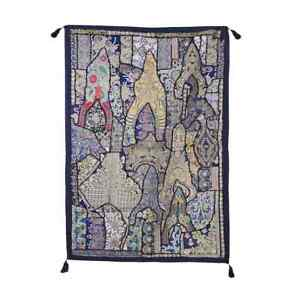 """Hand Embroidered Vintage Wall Tapestry Cotton Beads Patchwork Wall Hanging 60"""""""