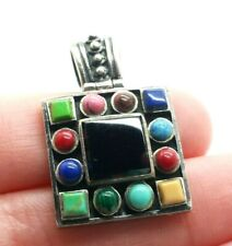 Colorful Multi Gems Sterling Silver 925 Pendant 8g RET922