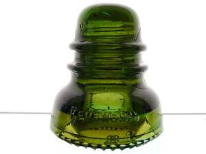 AWESOME AMBER SWIRLED YELLOW OLIVE GREEN HEMINGRAY Glass Hoopskirt Insulator