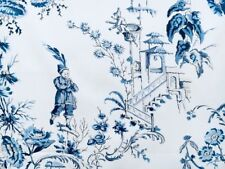 Scalamandre Curtain Fabric NANJING 3.25m China Blue Chinoiserie Design - 325cm