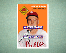 Steve Ridzik Philadelphia Phillies 1954 Style Custom Baseball Art Card