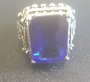 Large Blue Crystal Gem With Scratch On Band For Testing SizeQ