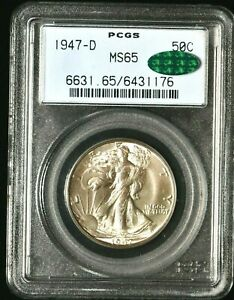 1947-D 50C Walking Liberty Half Dollar PCGS MS65 CAC 99c (1176) NO RESERVE