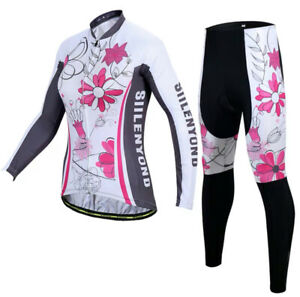 Ladies Long Sleeve + Cycling Shorts Jersey Set Trousers Bicycle Wheel Bike New