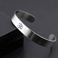 Mens Womens Stainless Steel Adjustable Silver Cuff Bangle Bracelet + Box #B216