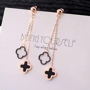Four Leaf Clover Set With Black Shell Long Tassel Titanium Rose Gold Earrings