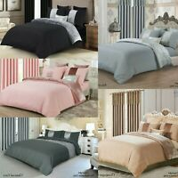 FURZON Crushed Velvet Panel Duvet Cover with Pillow Case Bedding Set 5 Colors