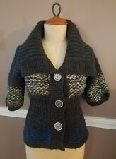 Beautiful Short Sleeve Multicolor Cardigan Sweater By Free People!! Size XL!!