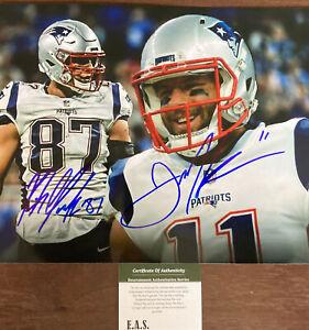 Julian Edelman Rob Gronkowski New England Patriots Signed 8x10 Photo W/COA