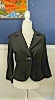 Cabi #177 Women's Black Stretchy Unlined One Button Ponte Blazer Jacket Sz Small