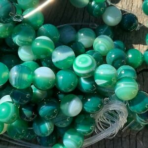 8mm Natural Green Banded Striped Agate 47 Beads 1mm Hole