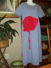 M Pioneer Prairie Pre owned DRESS  with New BONNET Trek Calico  USA Modest