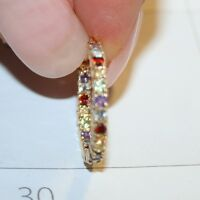 1 Carat  Multi Gemstone Inside Out Hoop Earrings 14k Yellow Gold Over 925 SS