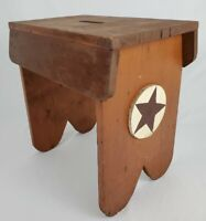 Vintage Primitive Wood Bench Milking Step Stool Rustic Kitchen Farmhouse Cricket