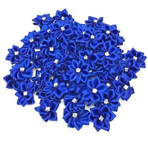 Royal Blue Satin Ribbon Flowers & Rhinestone Diamante Centre 25mm Craft Flower