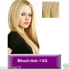 Kit Extensions a Clips Cheveux 100 naturels Remy Hair 64g 85g 125g 42 49 60 Cm. blond Platine 60 cm 85 G