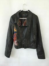 🦉 Desigual Long Sleeve Leather Look Embroidered Biker Jacket Brown Size M 40